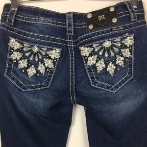 Miss Me Signature Skinny Silver Embroidered Jeans